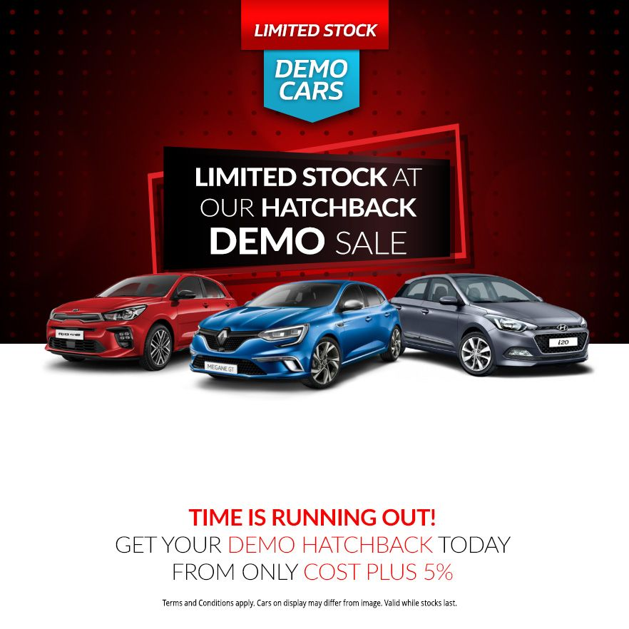 Limited Stock at our Hatchback Demo Sale from only Cost + 5%!