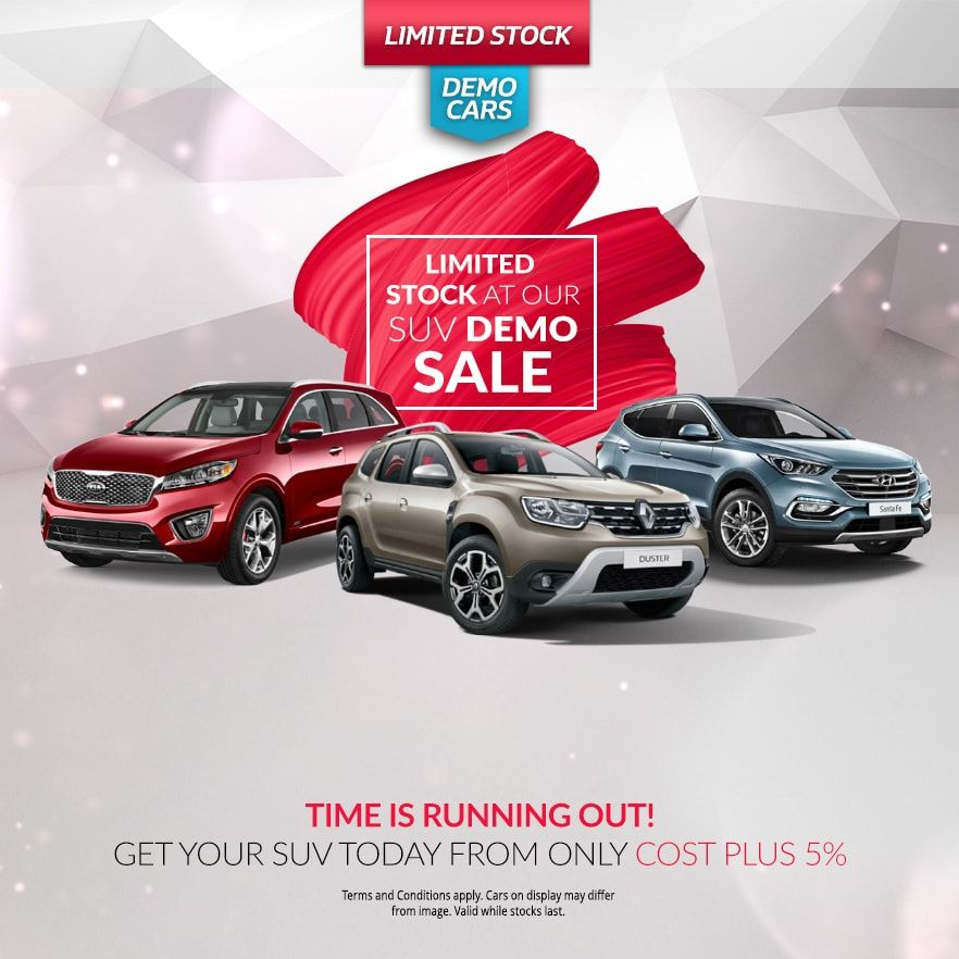 Limited Stock at our SUV Demo Sale from only Cost + 5%!