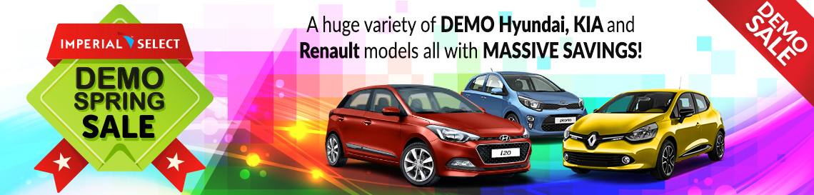 Demo Spring Sale - A huge variety of demo Hyundai, KIA and Renault models all with massive savings