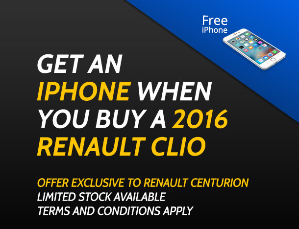 Get an iPhone  when you buy a 2016 Renault Clio from Renault Centurion